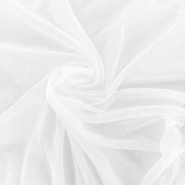 Bran mini point d'esprit tulle fabric - white x 10cm