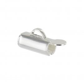 Slide end tube for bead weaving 9 mm - silver