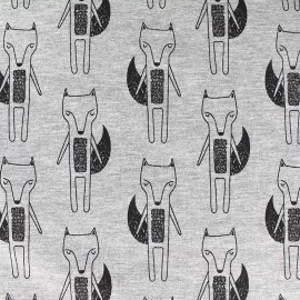 Quilted jersey fabric Fox - grey x 10cm