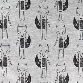 Tissu sweat léger Molletoné Fox - gris x 10cm