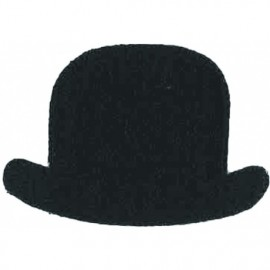 Bowler hat iron on patch - black