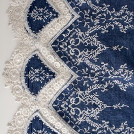 Scalloped and embroidered denim fabric Bertille - blue x 10cm